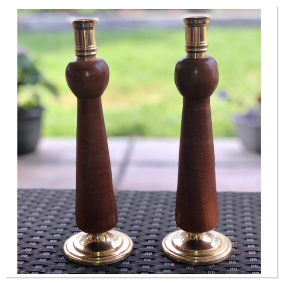 Vintage Wood and Brass Taper Candlestick Holders